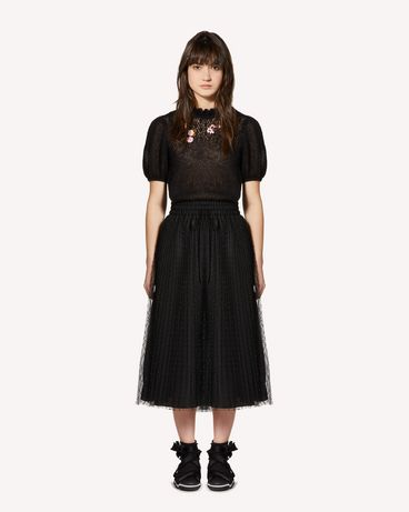 REDValentino Swallows and flowers embroidered mohair sweater