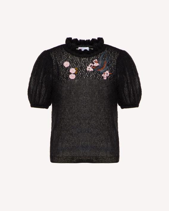 REDValentino 飞燕与花卉刺绣马海毛毛衣