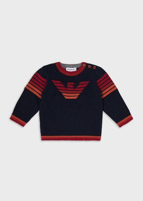 Plain-knit sweater with jacquard motifs