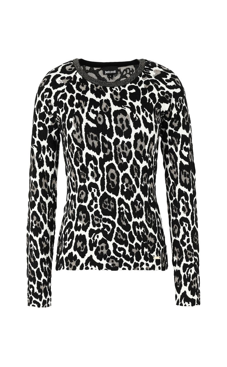 JUST CAVALLI Leopard-spot pullover Crewneck sweater Woman f