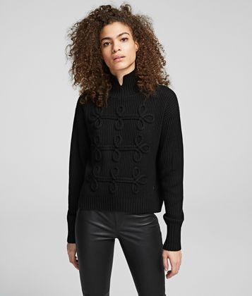 KARL LAGERFELD SOUTACHE-DESIGN SWEATER