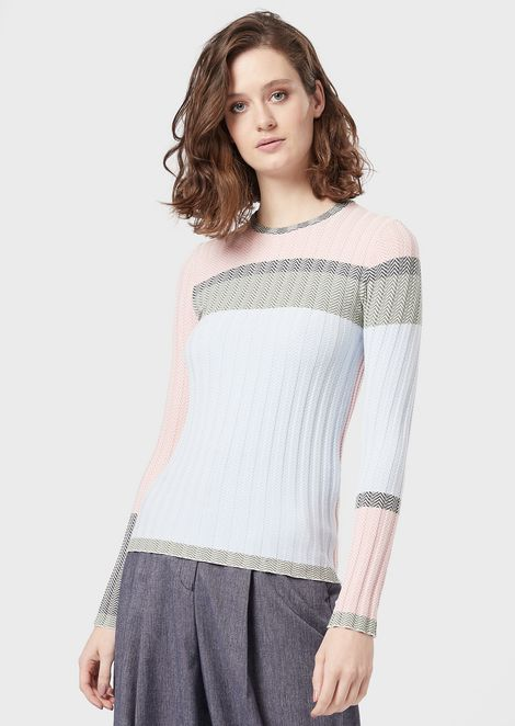 Chevron-motif jacquard sweater