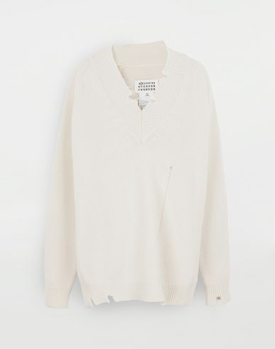 SWEATERS Destroyed wool sweater Ivory