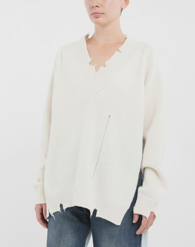 KNITWEAR Destroyed wool sweater Ivory