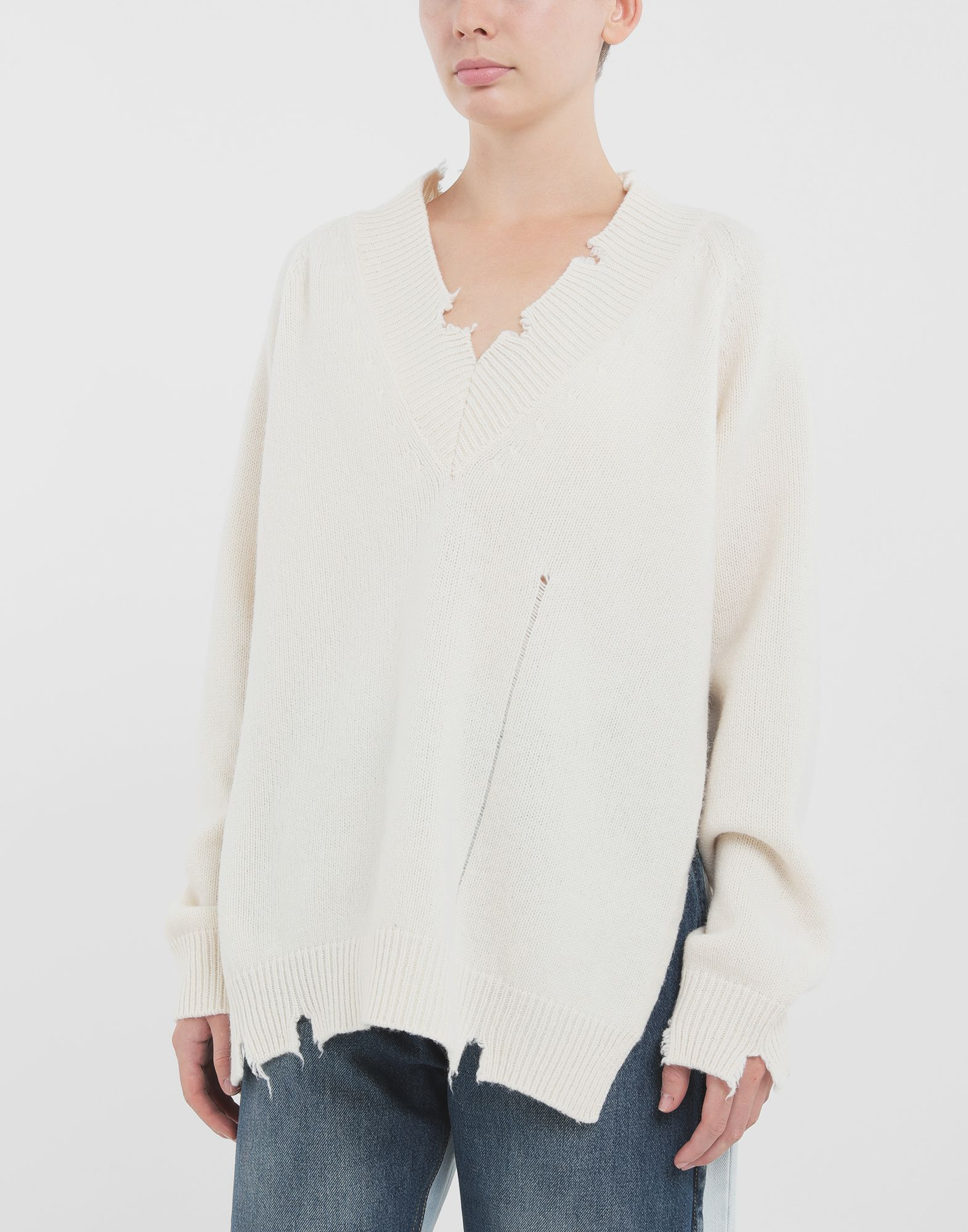 MAISON MARGIELA Destroyed wool sweater V-neck sweater Woman r
