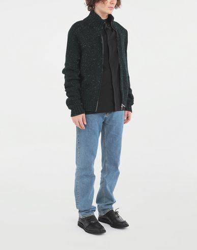 SWEATERS Zipper sweater Dark green