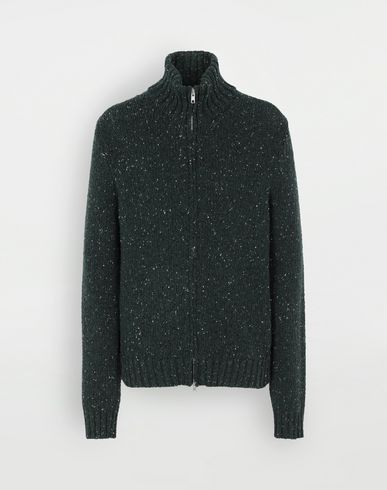 SWEATERS Zipper sweater Dark green