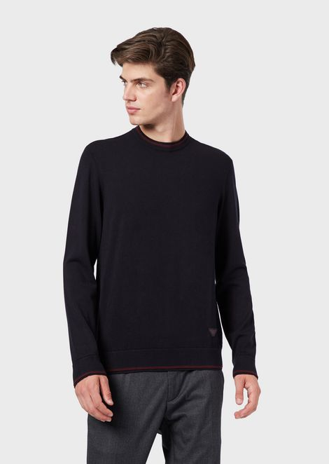 Plain-knit sweater with contrasting edges