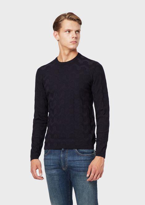 70e47e6d23d Crew-neck sweater with inlaid pattern