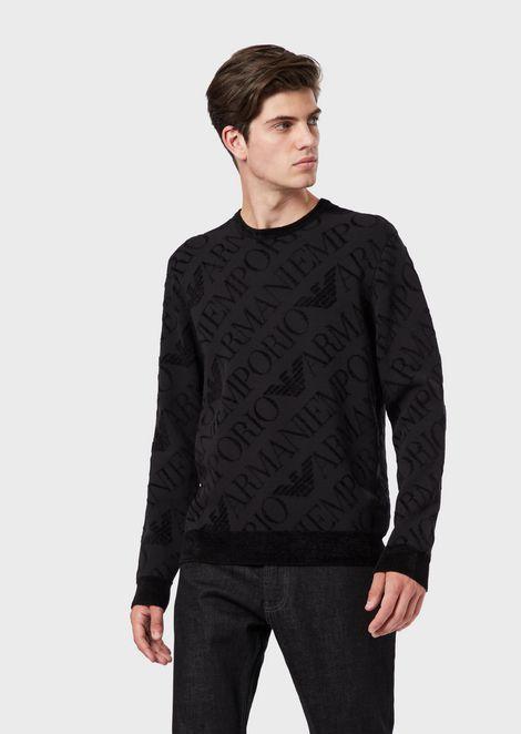 Pullover aus Chenille mit Maxi-Logo in Glattstrick