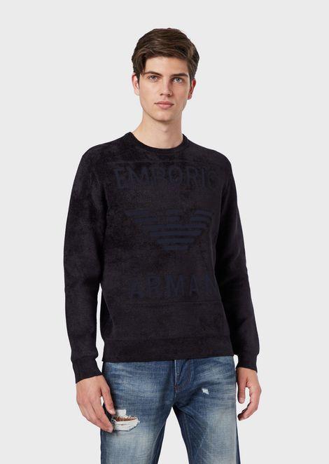 Chenille sweater with maxi eagle logo