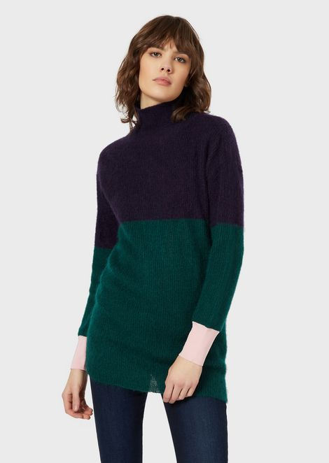 Ribbed maxi rollneck in colour-block mohair blend