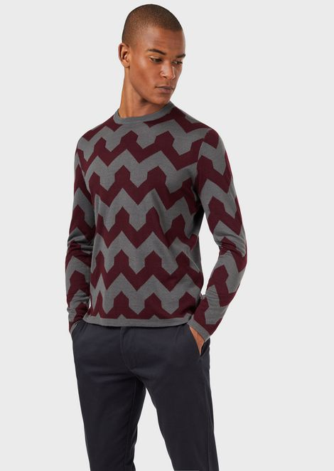 Virgin wool-blend sweater with optical-effect jacquard pattern