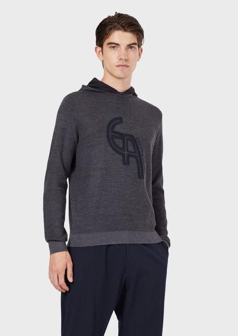 Mixed virgin wool sweater with logo and hood