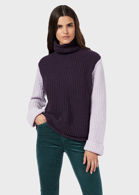 Wool-blend roll-neck sweater with colour-block ribbing