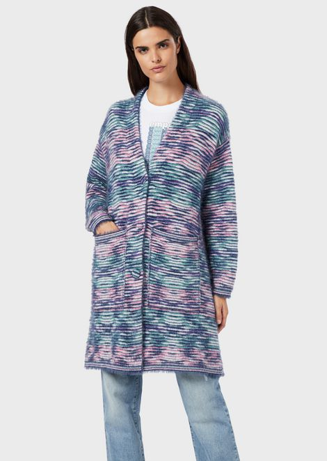 Mohair wool-blend coat with multicolour jacquard pattern
