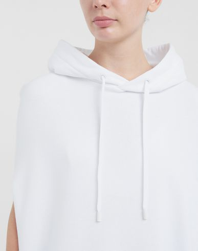 KNITWEAR Long-line hooded sweatshirt White