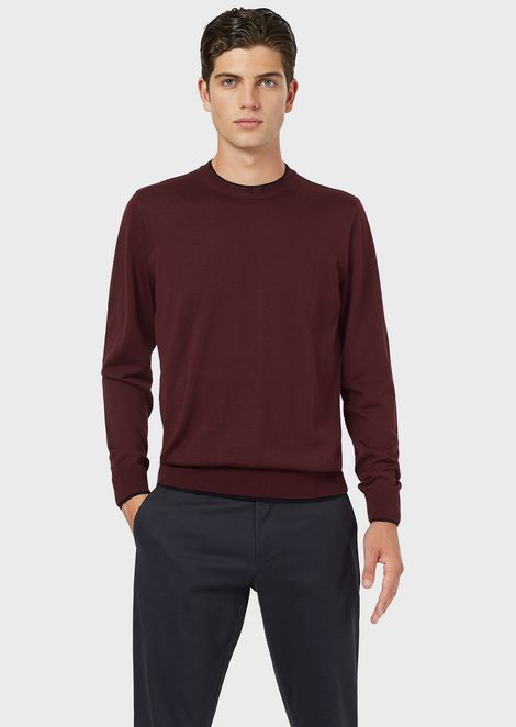 Plain-knit pure virgin wool-blend sweater