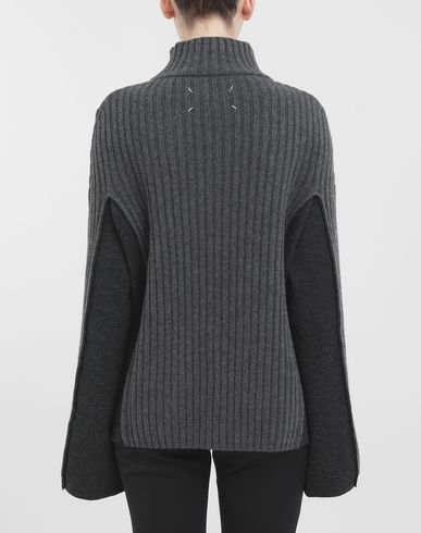 KNITWEAR Turtleneck ribbed wool sweater Steel grey