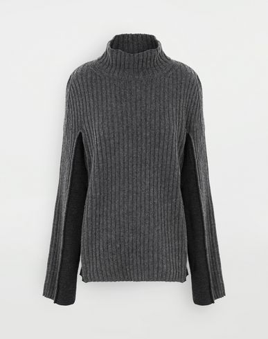 SWEATERS Turtleneck ribbed wool sweater Steel grey
