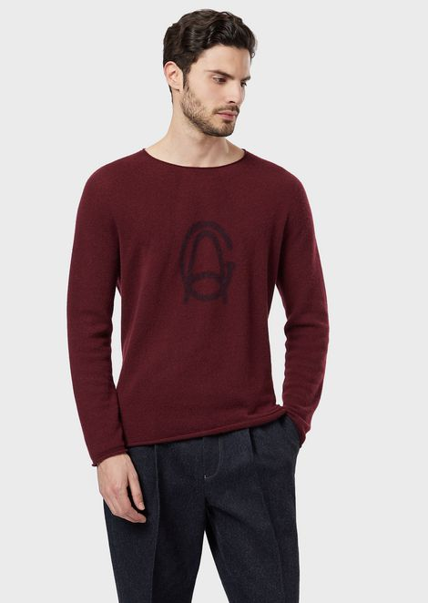 Cashmere sweater with pigmented logo print