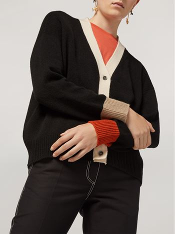 Marni Cardigan in cashmere with contrast buttoning and cuffs Woman f
