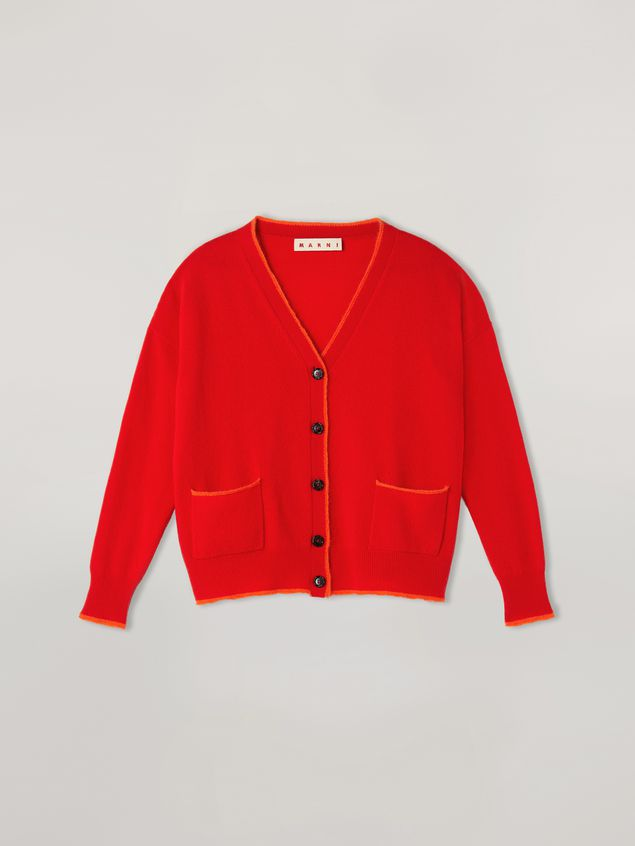 Marni Cardigan in shetland and mohair wool with contrast piping Woman - 2