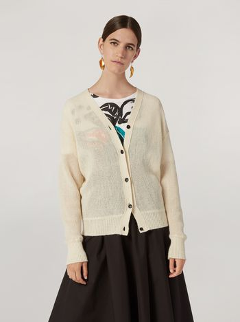 Marni Cardigan in alpaca with abstract and floral pattern  Woman f
