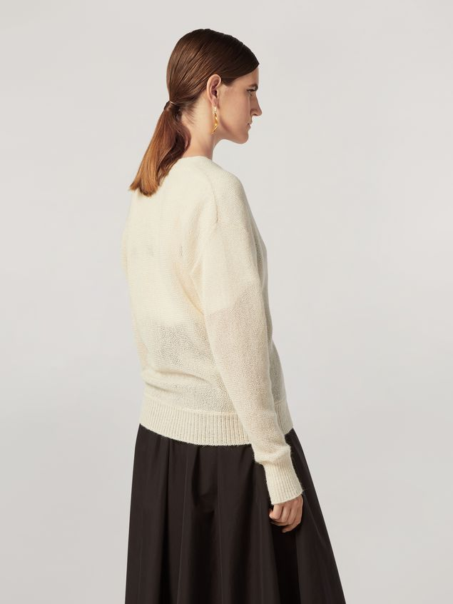 Marni Cardigan in alpaca with abstract and floral pattern  Woman