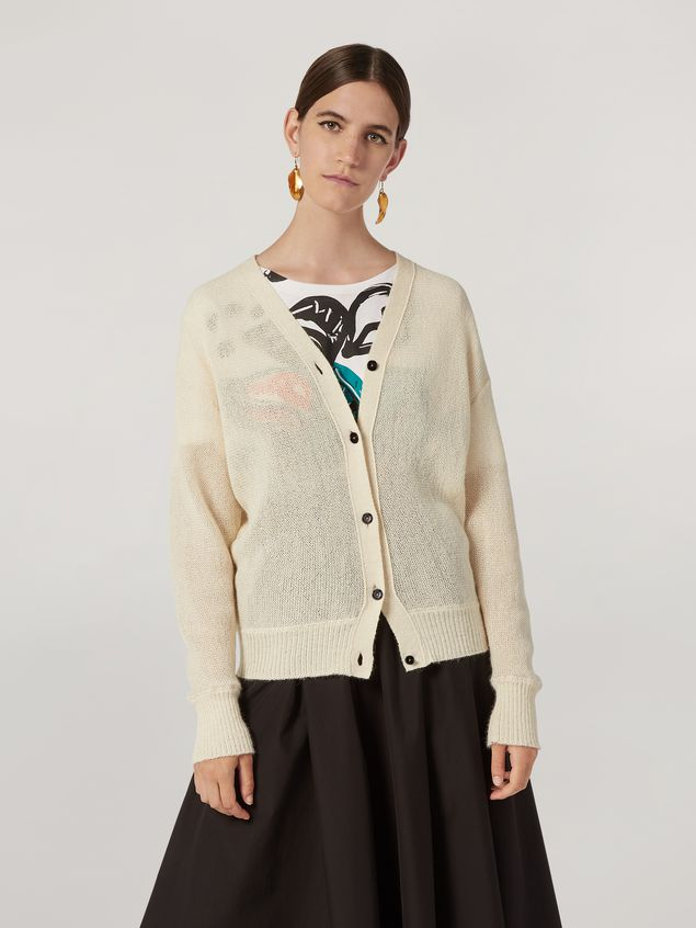 Marni Cardigan in alpaca with abstract and floral pattern  Woman - 1