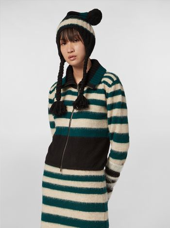 Marni WANDERING IN STRIPES cardigan in degradé striped wool and alpaca Woman f