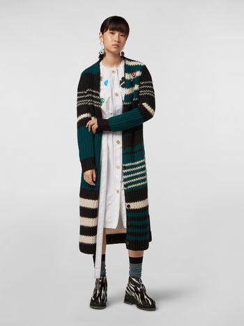 Marni WANDERING IN STRIPES extra-long cardigan in virgin and alpaca wool Woman f