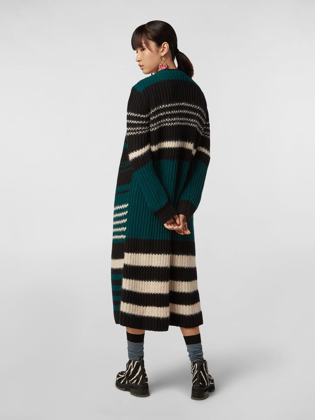 Marni WANDERING IN STRIPES extra-long cardigan in alpaca and virgin wool Woman