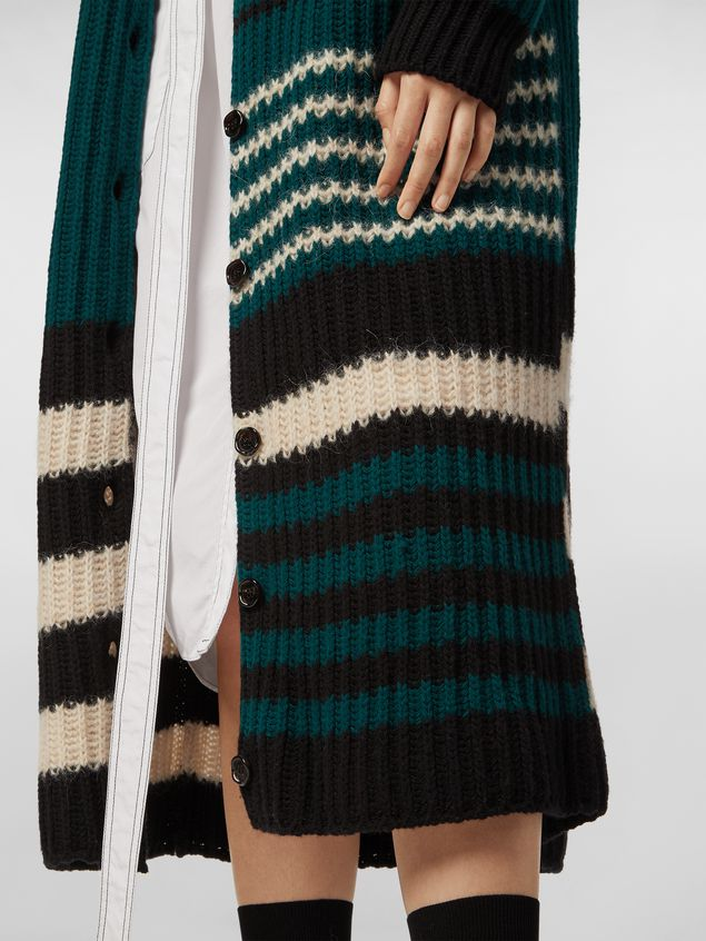 Marni WANDERING IN STRIPES extra-long cardigan in alpaca and virgin wool Woman - 5