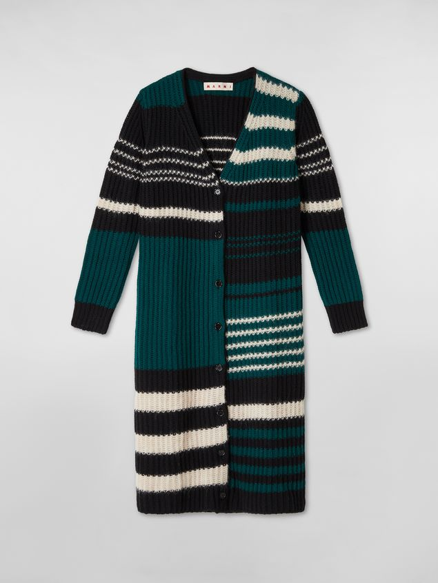 Marni WANDERING IN STRIPES extra-long cardigan in alpaca and virgin wool Woman - 2