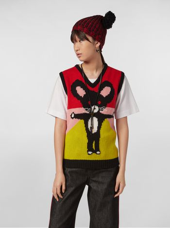 Marni CHINESE NEW YEAR 2020 vest in inlayed cashmere Woman f