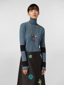 Marni WANDERING IN STRIPES thin-striped wool turtleneck knit blue Woman