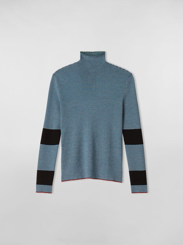Marni WANDERING IN STRIPES thin-striped wool turtleneck knit blue Woman - 2