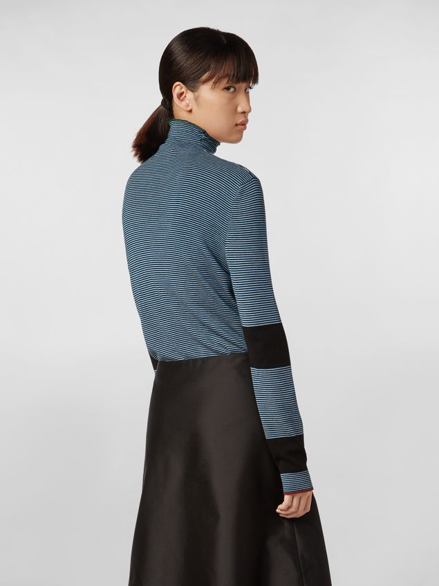 Marni WANDERING IN STRIPES thin-striped wool turtleneck knit blue Woman - 3