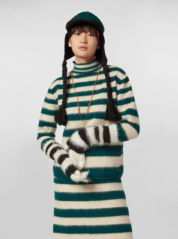 Marni WANDERING IN STRIPES thin-striped wool turtleneck knit and alpaca Woman f
