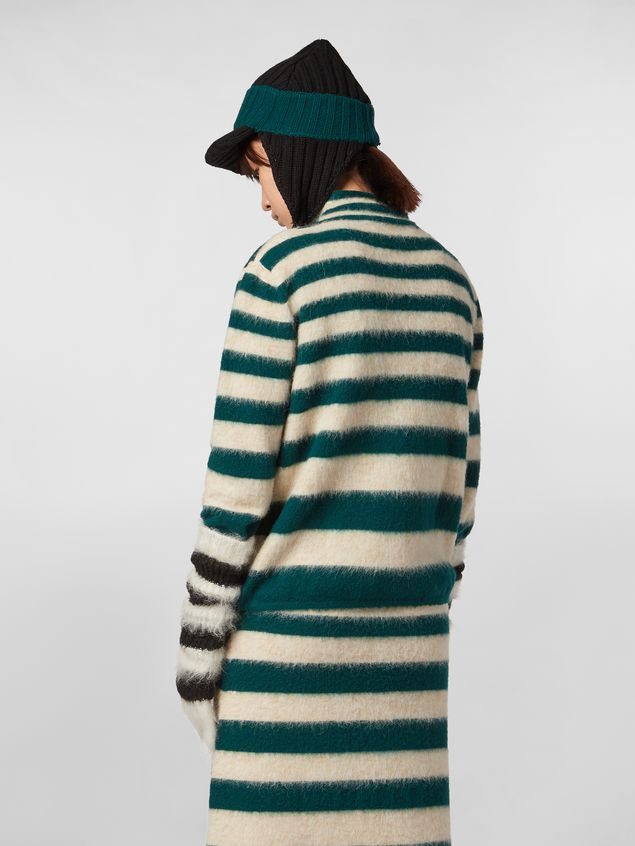 Marni WANDERING IN STRIPES thin-striped wool turtleneck knit and alpaca Woman