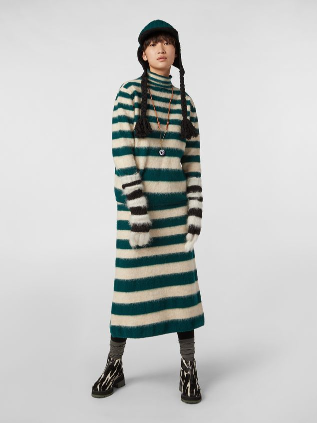 Marni WANDERING IN STRIPES thin-striped wool turtleneck knit and alpaca Woman - 5