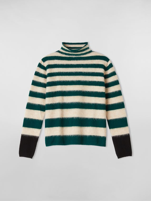 Marni WANDERING IN STRIPES thin-striped wool turtleneck knit and alpaca Woman - 2