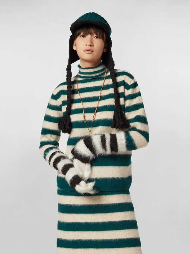 Marni WANDERING IN STRIPES thin-striped wool turtleneck knit and alpaca Woman - 1