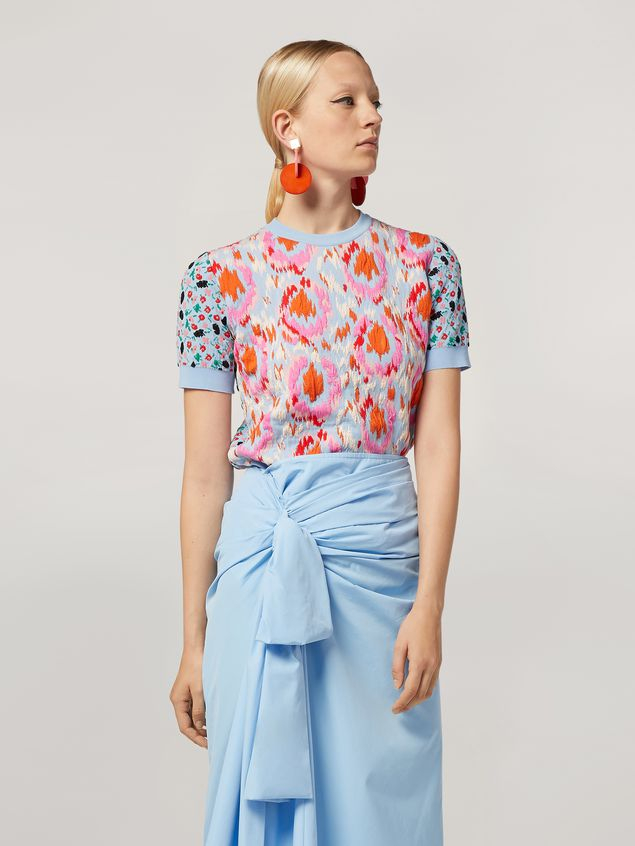 Marni Knit in cotton and nylon jacquard blue Woman - 1