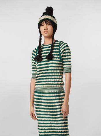 Marni WANDERING IN STRIPES wool striped knit with embossed effect Woman f