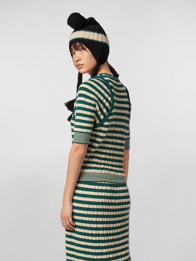 Marni WANDERING IN STRIPES striped-knit wool sweater with embossed effect Woman
