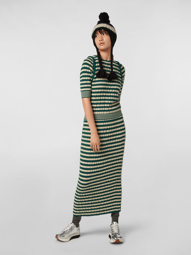 Marni WANDERING IN STRIPES wool striped knit with embossed effect Woman - 5