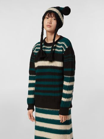 Marni WANDERING IN STRIPES crewneck knit in virgin and alpaca wool Woman f