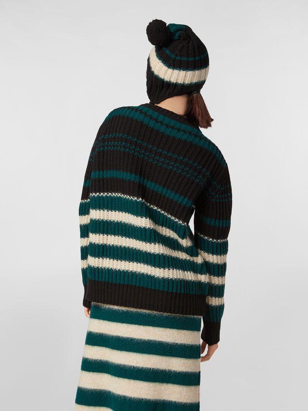 Marni WANDERING IN STRIPES crewneck knitted sweater in virgin and alpaca wool Woman
